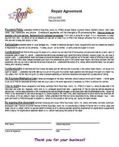 Royalty Financing Agreement Template auto body repair forms parksroyal