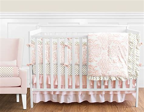 Pink And White Polka Dot Crib Bedding Blush Pink White Damask And Gold Polka Dot Amelia Baby 9 Crib Bedding Set With