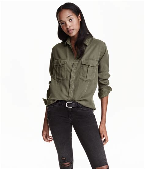 Hm Shirt lyst h m cargo shirt in lyocell in