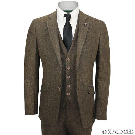 Kaos Coolsuit Co mens brown 3 wool mix herringbone tweed suit vintage