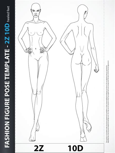 fashion figure body drawing template 9 heads lady