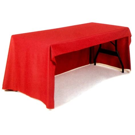 open back 3 sided blank trade show table cover