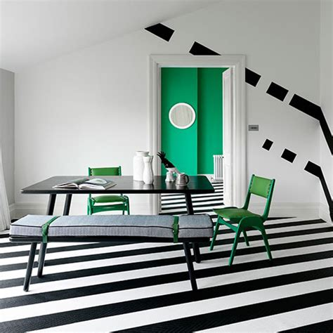 Room Planner Diagonal Wall Bold And Beautiful Black And White Stripes In Every Room