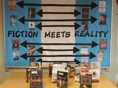 books for display fiction meets reality library display ideas pinterest