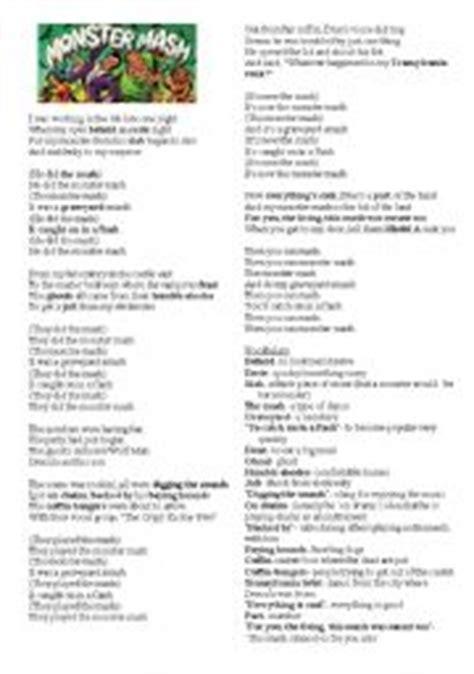 printable lyrics monster mash english worksheet monster mash halloween song