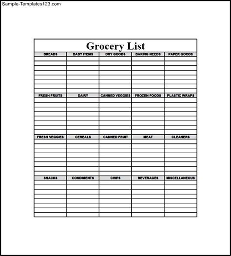blank grocery list template sle templates