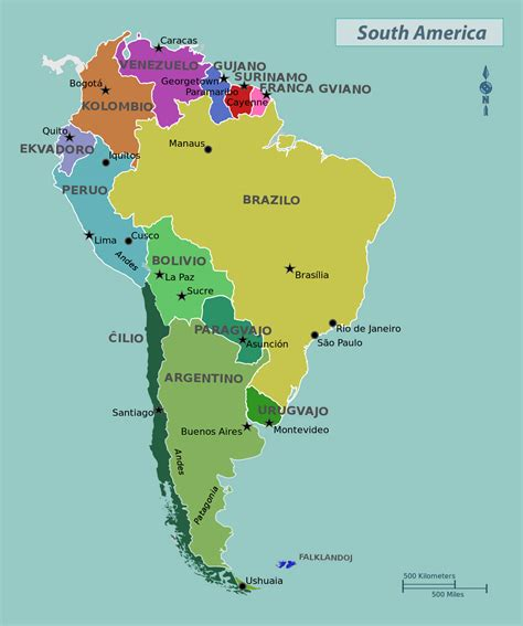 south america map countries only south america large detailed political map large detailed