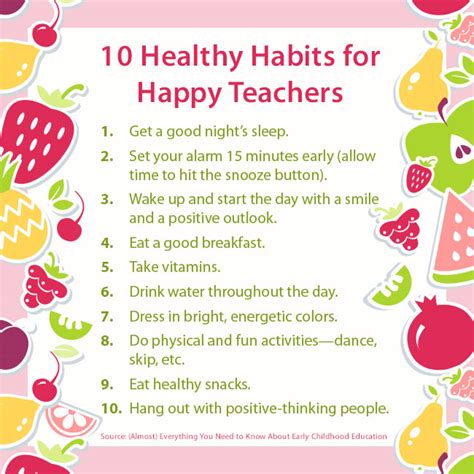 the top healthy habits for 10 healthy habits for happy teachers