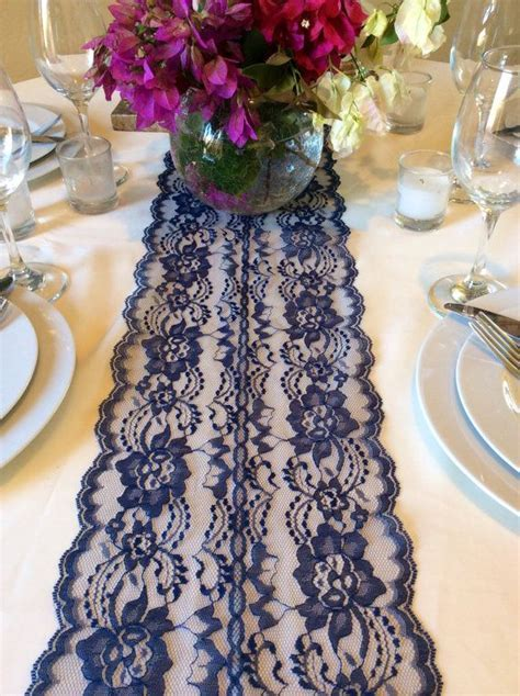 12ft Navy Blue Table Runner, Wedding Navy Blue Lace Table