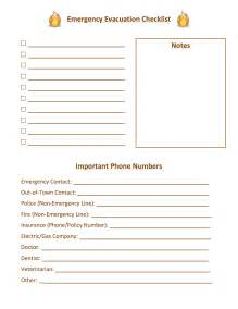 Evacuation Checklist Template by 301 Moved Permanently