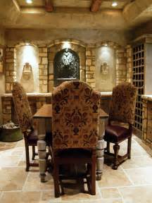 mediterranean wine cellar with sitting area hgtv