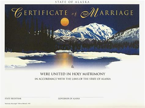 Alaska Marriage Records Heirloom Marriage Certificate Mckinley Moonlight Byron Birdsall