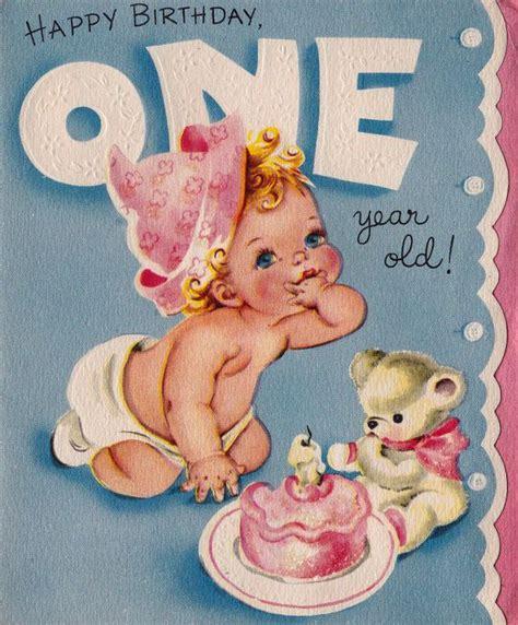 Happy Birthday Card 1 Year Vintage Happy Birthday One Year Old Greetings Card B9