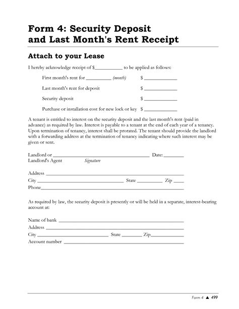 rental deposit receipt template best photos of rental security deposit rent and security
