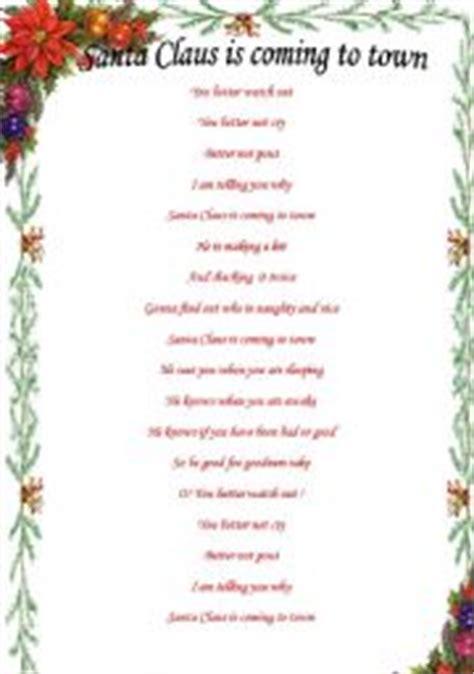 printable lyrics santa claus is coming to town english teaching worksheets santa claus