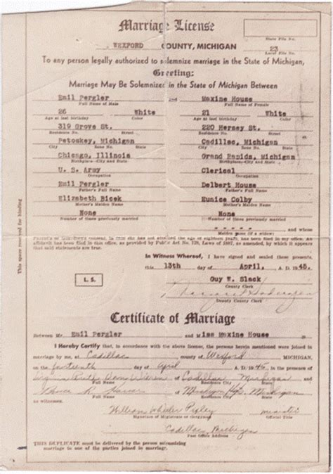 Michigan Marriage License Records Michigan Marriage Certificate Look Like Pictures To Pin On