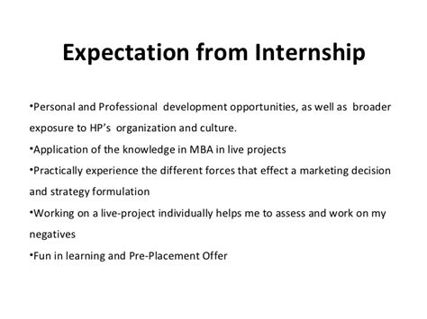 Hp Mba Internship by Summer Internship Presentation Hp