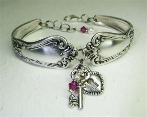 silver spoon jewelry silver spoon bracelet silver lock key fuchsia