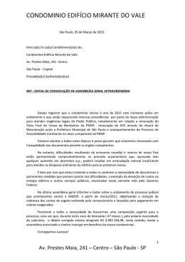 Carta de solicitação prestação de contas ao síndico
