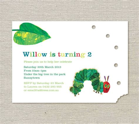 hungry caterpillar invitation template free the hungry caterpillar birthday invitations 25 00 via