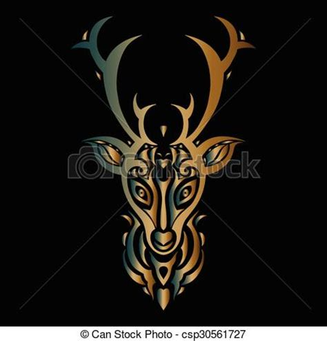 vector illustration of deer head polynesian tattoo style
