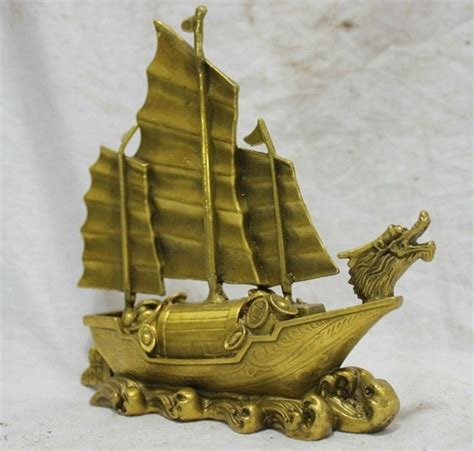 dragon boat delivery hot 7 chinese bronze statue dragon boat money lucky