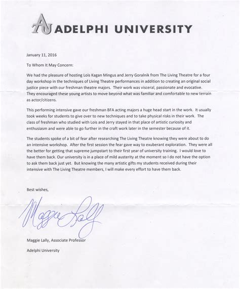 Roanoke College Letter Of Recommendation The Living Theatre Workshops Adelphi