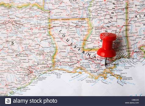 america map pointing pin on map of usa pointing at new orleans louisiana
