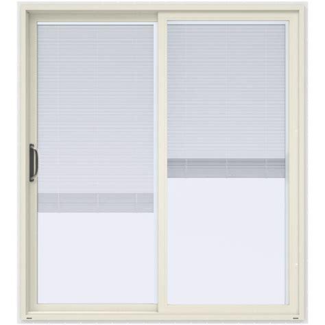 Plastic Patio Doors Jeld Wen 72 In X 80 In V 4500 Contemporary Vanilla Paint Vinyl Left Lite Sliding