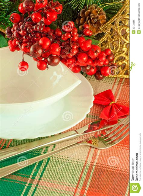 christmas table layout red tape stock image image 22122255