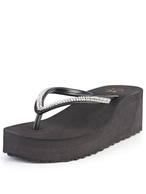 miss kg darcy foam wedge sandals in black lyst