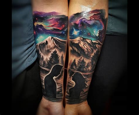 best couple tattoo ideas couples with mountains space sky best