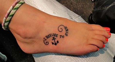 i refuse to sink anchor tattoo meaning 39 anchor tattoos on foot