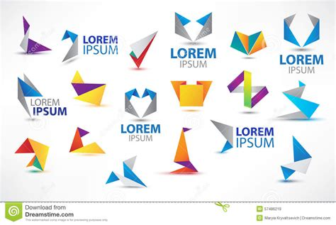colorful logo design elements vector set vector colorful origami icon set design elements stock