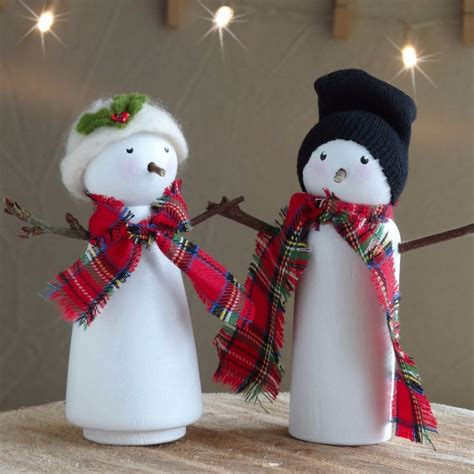 snow lady and snowman peg doll christmas decorations