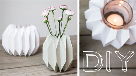 origami kerzenhalter diy geometrische vase windlicht im origamidesign