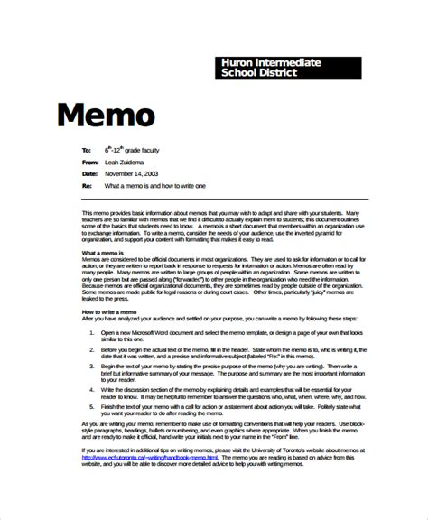 official memo template sle formal memo template 7 free documents
