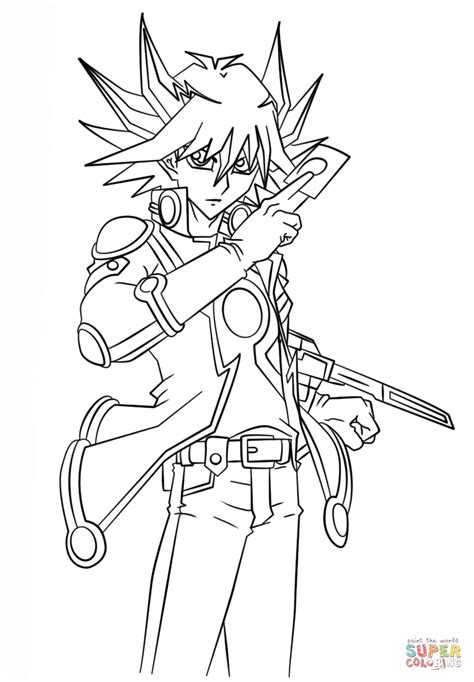 yu gi oh coloring pages yusei fudo from yu gi oh 5ds coloring page free