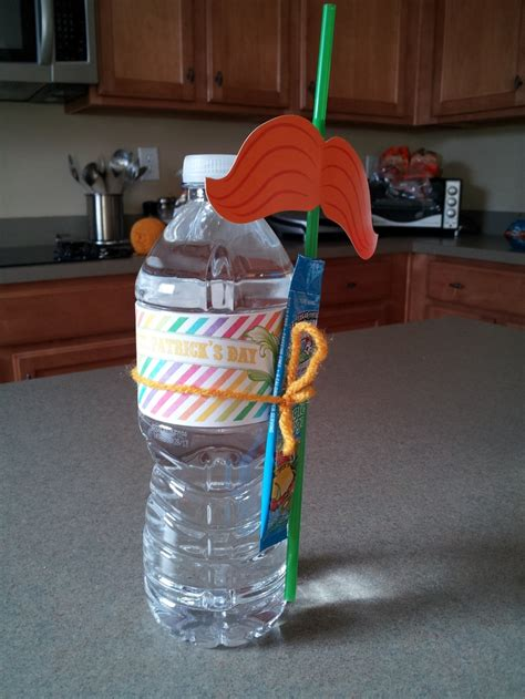 Water Bottle With Straw Animal Mixer water bottle attached with green hawaiian punch mix and orange stache straws from target