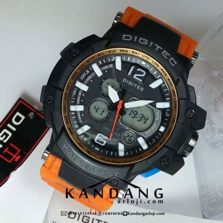 Bar Jam Tangan jam tangan digitec dg 2078t orange murah water resist 10 bar dual time