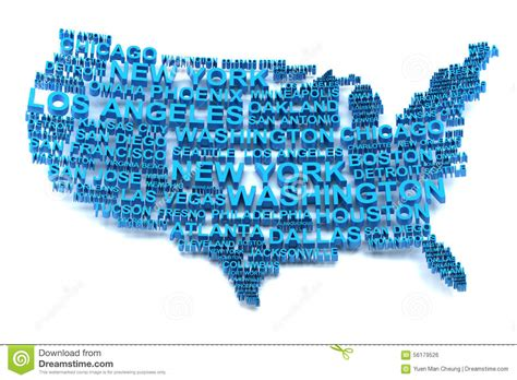 usa map with cities name usa map formed by names of major cities stock illustration