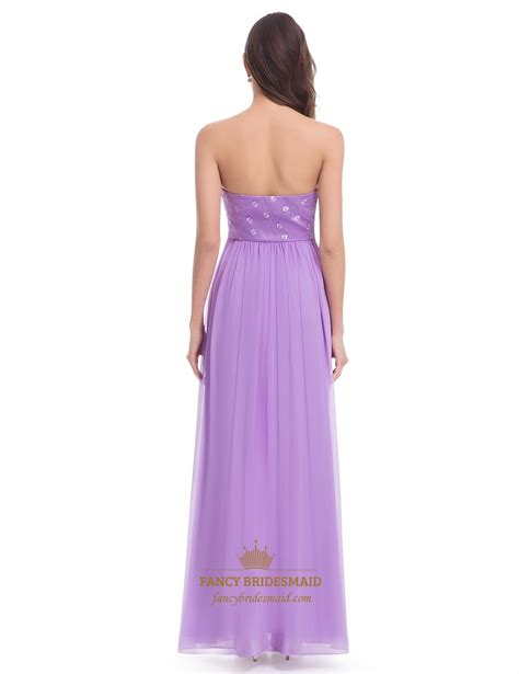 lavender strapless a line chiffon bridesmaid dress with