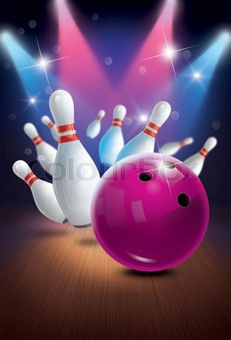 bowling background bowling poster backgrounds flyer or label design stock