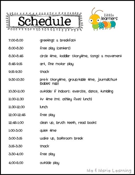 home daycare schedule template schedule pinteres