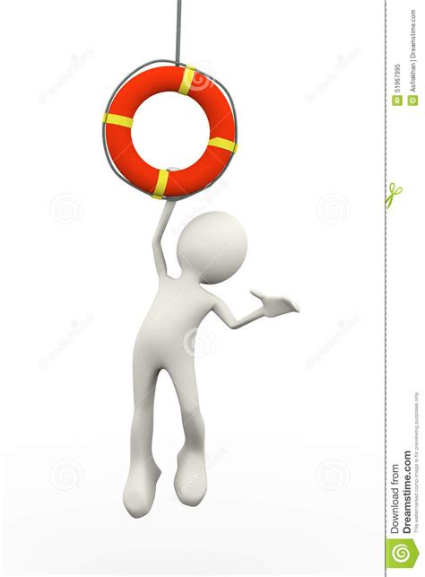3d person hanging on life preserver lifebuoy ring stock