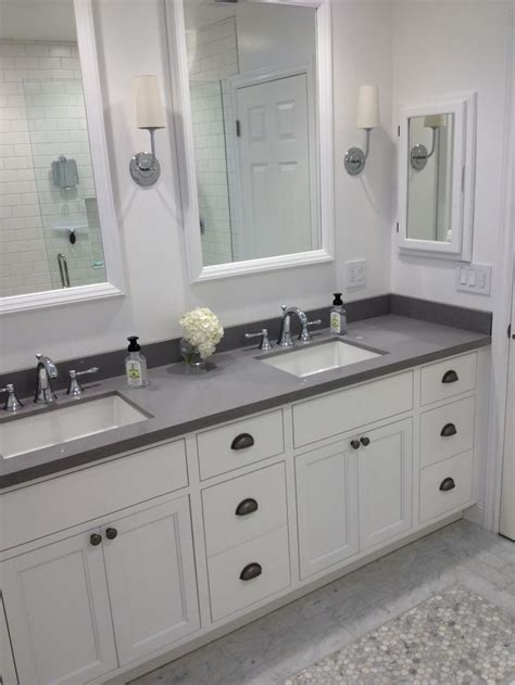 restoration hardware cabinet cup pulls white bathroom master bath gray quartz subway tile cup