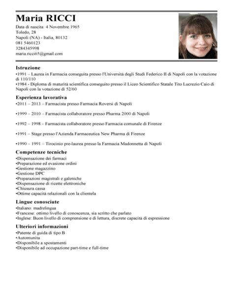 cv pharmacist sles curriculumvitae italiano modello curriculum vitae