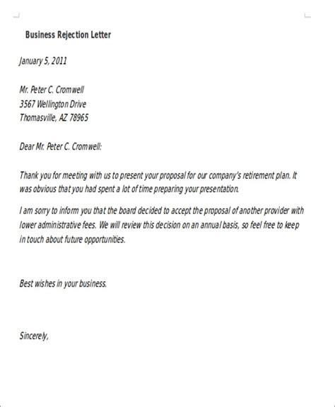 formal rejection letters sample format