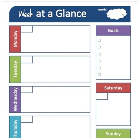 week at a glance calendar template pin by kelley miller on kid stuff