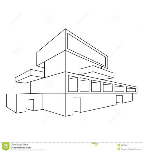 2d house drawing 2d perspective drawing of house stock vector image 49740594